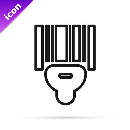 Black line Scanner scanning bar code icon isolated on white background. Barcode label sticker. Identification for delivery with bars. Vector Illustration
