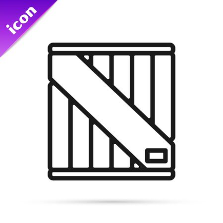 Black line Wooden box icon isolated on white background. Vector Illustration