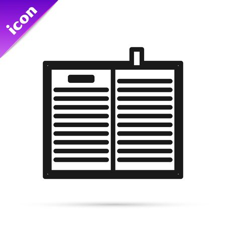 Black line Open science book icon isolated on white background. Vector Illustration Ilustracja