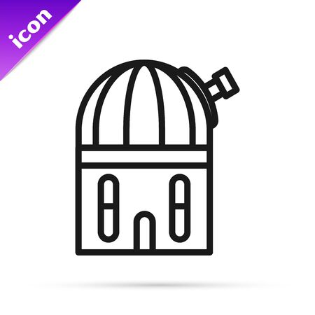 Black line Astronomical observatory icon isolated on white background. Vector Illustration