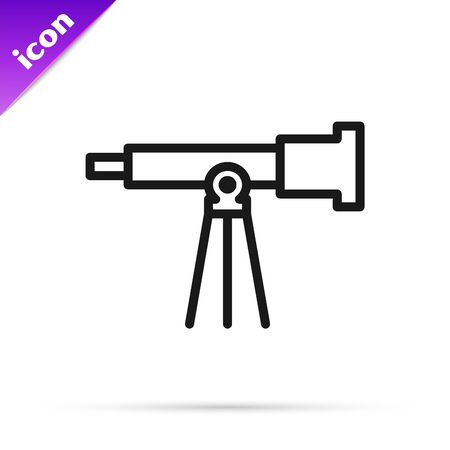 Black line Telescope icon isolated on white background. Scientific tool. Education and astronomy element, spyglass and study stars. Vector Illustration