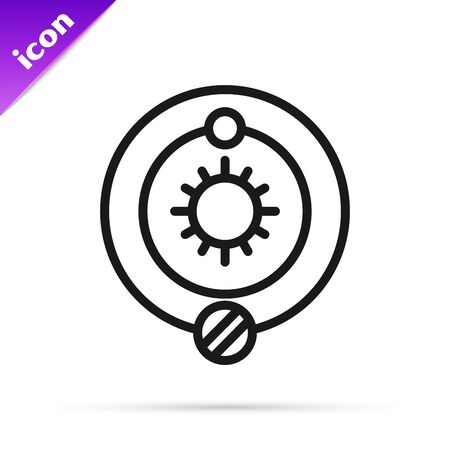 Black line Solar system icon isolated on white background. The planets revolve around the star. Vector Illustration Ilustrace