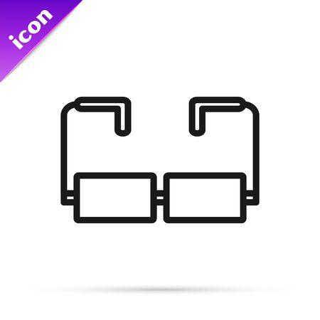 Black line Glasses icon isolated on white background. Eyeglass frame symbol. Vector Illustration 일러스트