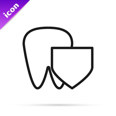 Black line Tooth with shield icon isolated on white background. Dental insurance. Security, safety, protection, protect concept. Vector Illustration Illusztráció