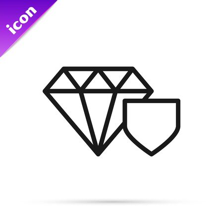 Black line Diamond with shield icon isolated on white background. Jewelry insurance concept. Security, safety, protection, protect concept. Vector Illustration Illusztráció