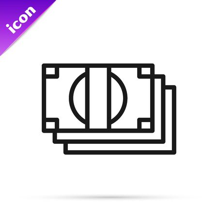 Black line Stacks paper money cash icon isolated on white background. Money banknotes stacks. Bill currency. Vector Illustration Çizim
