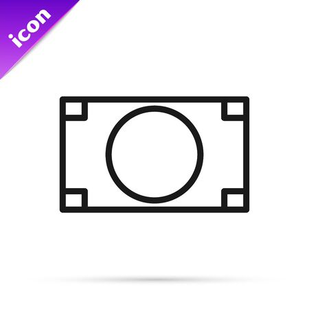 Black line Stacks paper money cash icon isolated on white background. Money banknotes stacks. Bill currency. Vector Illustration Stok Fotoğraf - 133794340