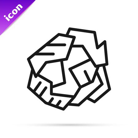 Black line Crumpled paper ball icon isolated on white background. Vector Illustration Illustration