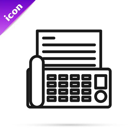 Black line Fax machine icon isolated on white background. Office Telephone. Vector Illustration