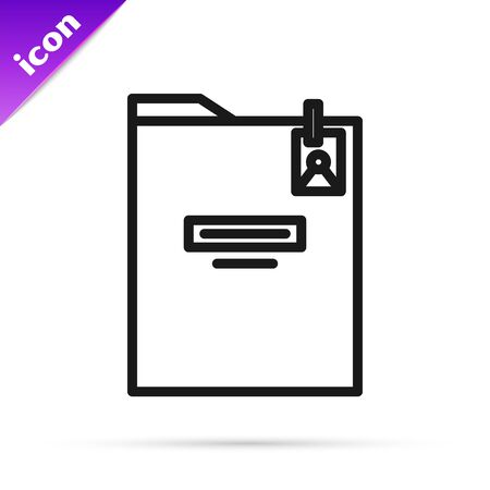 Black line Personal folder icon isolated on white background. Vector Illustration