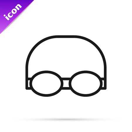 Black line Glasses and cap for swimming icon isolated on white background. Swimming cap and goggles. Diving underwater equipment. Vector Illustration