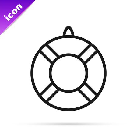 Black line Lifebuoy icon isolated on white background. Lifebelt symbol. Vector Illustration