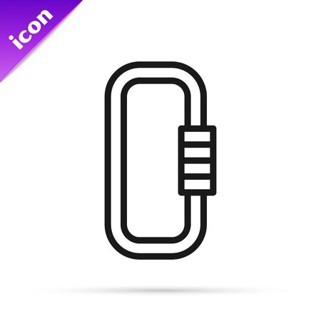 Black line Carabiner icon isolated on white background. Extreme sport. Sport equipment. Vector Illustration