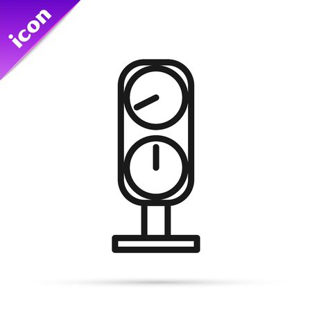 Black line Gauge scale icon isolated on white background. Satisfaction, temperature, manometer, risk, rating, performance, speed tachometer. Vector Illustration