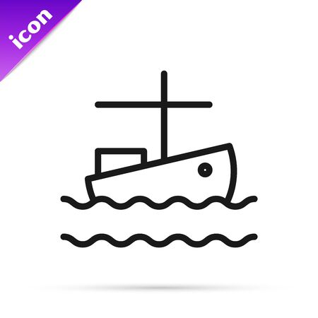 Black line Fishing boat on water icon isolated on white background. Vector Illustration