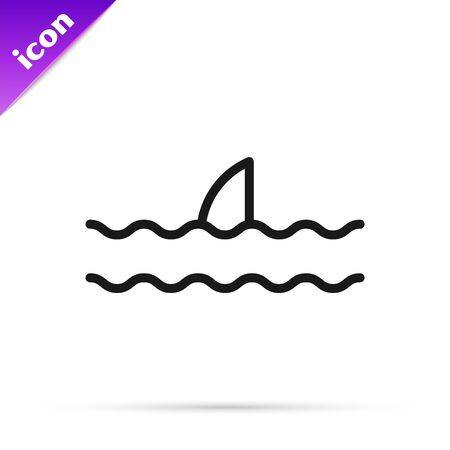 Black line Shark fin in ocean wave icon isolated on white background. Vector Illustration