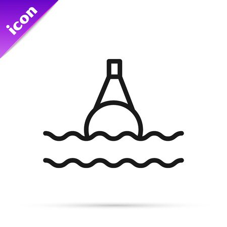 Black line Floating buoy on the sea icon isolated on white background. Vector Illustration  イラスト・ベクター素材