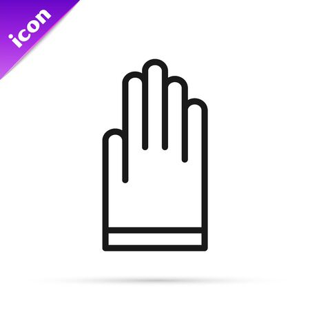 Black line Gloves icon isolated on white background. Extreme sport. Diving underwater equipment. Vector Illustration