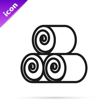 Black line Roll of hay icon isolated on white background. Vector Illustration