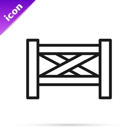 Black line Garden fence wooden icon isolated on white background. Vector Illustration