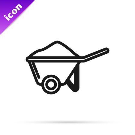 Black line Wheelbarrow with dirt icon isolated on white background. Tool equipment. Agriculture cart wheel farm. Vector Illustration Çizim