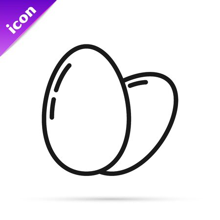 Black line Chicken egg icon isolated on white background. Vector Illustration
