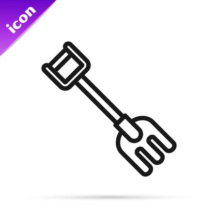 Black line Garden rake icon isolated on white background. Tool for horticulture, agriculture, farming. Ground cultivator. Housekeeping equipment. Vector Illustration