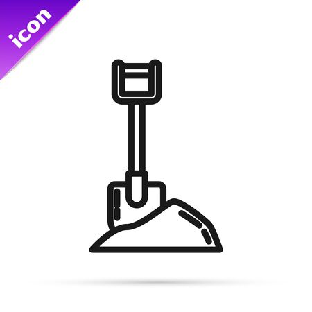 Black line Shovel in the ground icon isolated on white background. Gardening tool. Tool for horticulture, agriculture, farming. Vector Illustration