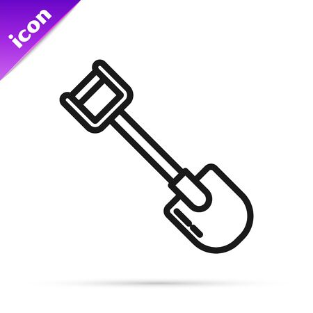 Black line Shovel icon isolated on white background. Gardening tool. Tool for horticulture, agriculture, farming. Vector Illustration Stok Fotoğraf - 133798955