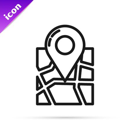 Black line Folded map with location marker icon isolated on white background. Vector Illustration