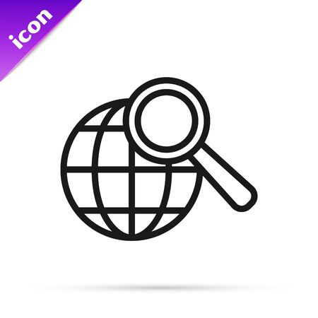 Black line Magnifying glass with globe icon isolated on white background. Analyzing the world. Global search sign. Vector Illustration