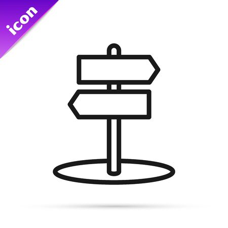 Black line Road traffic sign. Signpost icon isolated on white background. Pointer symbol. Isolated street information sign. Direction sign. Vector Illustration  イラスト・ベクター素材