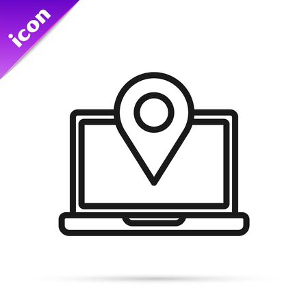Black line Laptop with location marker icon isolated on white background. Vector Illustration
