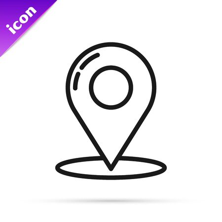 Black line Map pin icon isolated on white background. Navigation, pointer, location, map, gps, direction, place, compass, contact, search concept. Vector Illustration  イラスト・ベクター素材