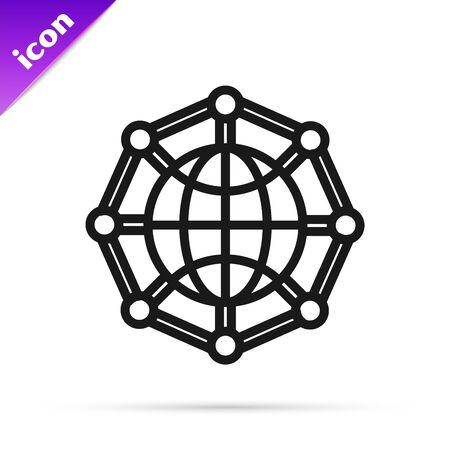 Black line Global technology or social network icon isolated on white background. Vector Illustration Ilustracja