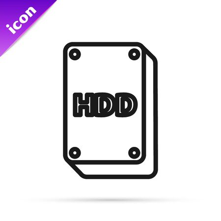 Black line Hard disk drive HDD icon isolated on white background. Vector Illustration