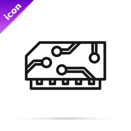 Black line RAM, random access memory icon isolated on white background. Vector Illustration