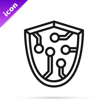 Black line Cyber security icon isolated on white background. Shield sign. Safety concept. Digital data protection. Vector Illustration Illustration