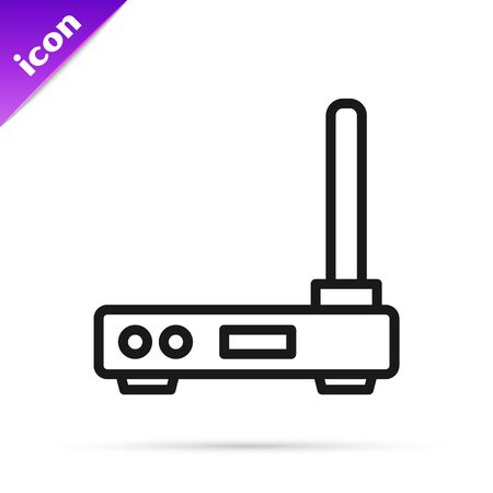Black line Router and wifi signal symbol icon isolated on white background.