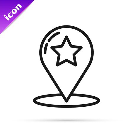 Black line Map pointer with star icon isolated on white background. Star favorite pin map icon. Map markers. Vector Illustration
