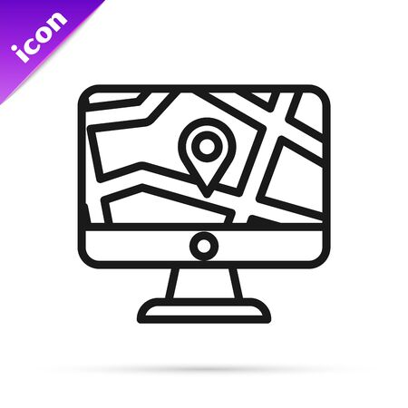 Black line Computer monitor and folded map with location marker icon isolated on white background. Vector Illustration