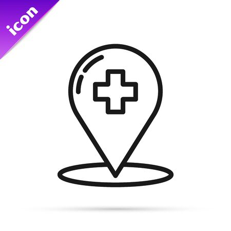 Black line Medical map pointer with cross hospital icon isolated on white background. Vector Illustration