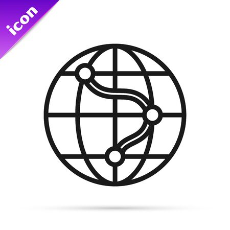 Black line Location on the globe icon isolated on white background. World or Earth sign. Vector Illustration