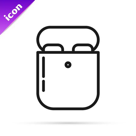 Black line Air headphones in box icon icon isolated on white background. Holder wireless in case earphones garniture electronic gadget. Vector Illustration
