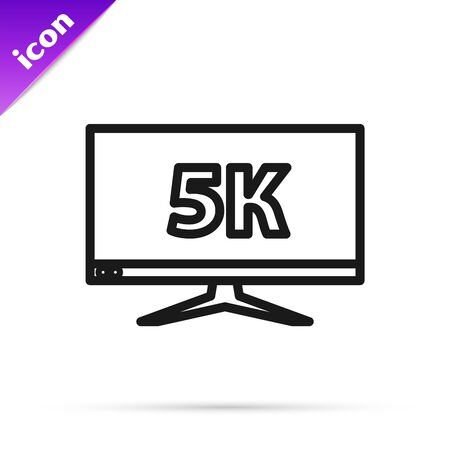 Black line Computer PC monitor display with 5k video technology icon isolated on white background. Vector Illustration Illusztráció