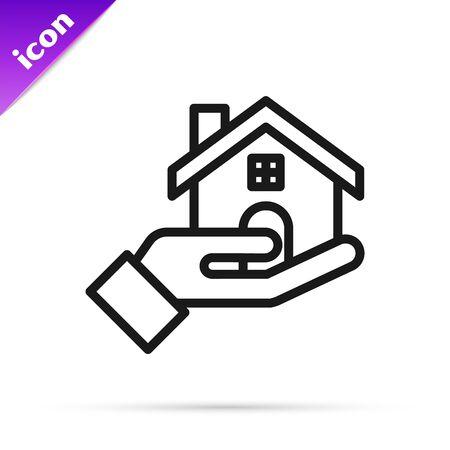 Black line Realtor icon isolated on white background. Buying house. Vector Illustration