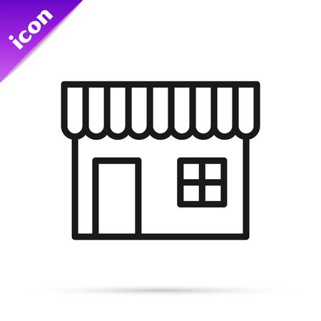 Black line Shopping building or market store icon isolated on white background. Shop construction. Vector Illustration