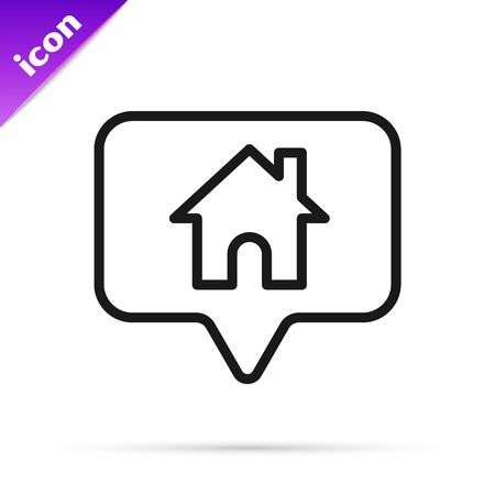 Black line Map pointer with house icon isolated on white background. Home location marker symbol. Vector Illustration 写真素材 - 133800283