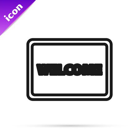 Black line Doormat with the text Welcome icon isolated on white background. Welcome mat sign. Vector Illustration