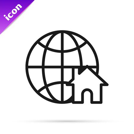 Black line Globe with house symbol icon isolated on white background. Real estate concept. Vector Illustration Ilustracja